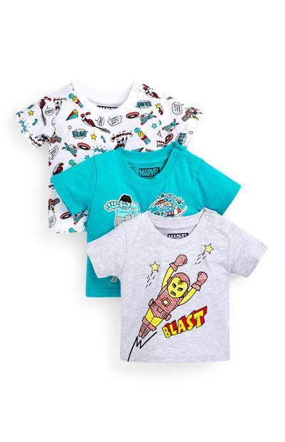Pack de 3 camisetas de Los Vengadores para bebé niño