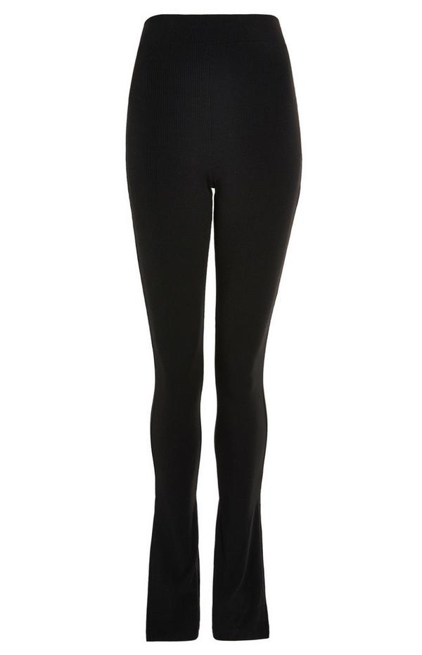 Zwarte legging met zijsplitten