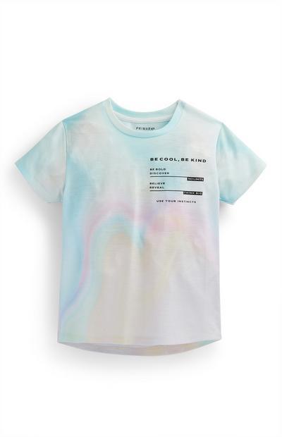 T-shirt efeito desbotado menino pastel