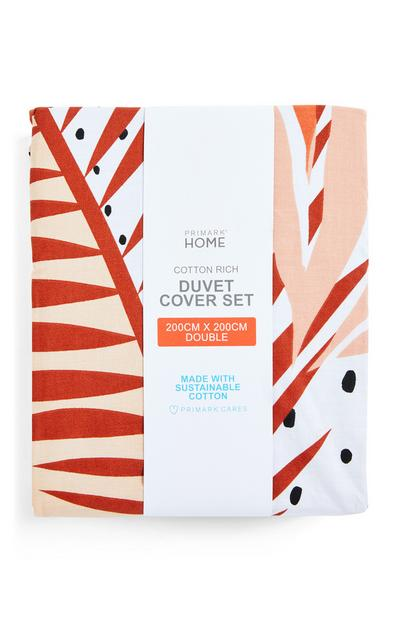 Retro Abstract Leaf Double Duvet Cover Set