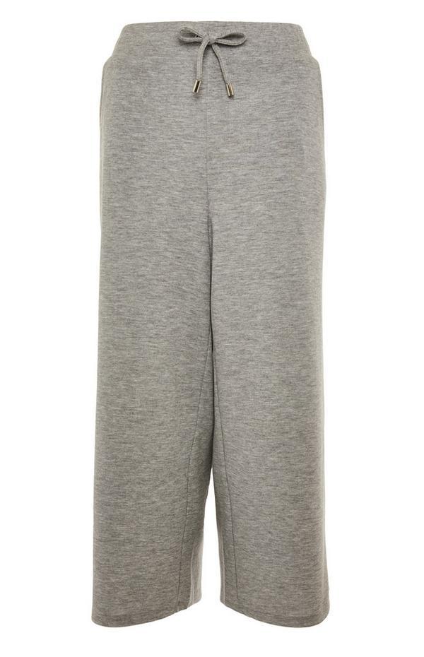 Pantaloni culotte grigi allacciati in vita