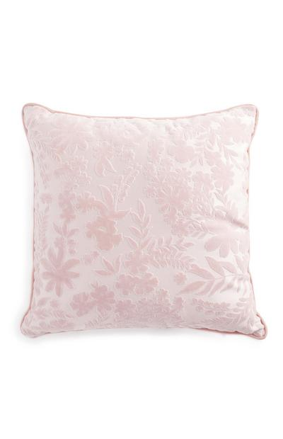 Pink Floral Sheared Velvet Cushion