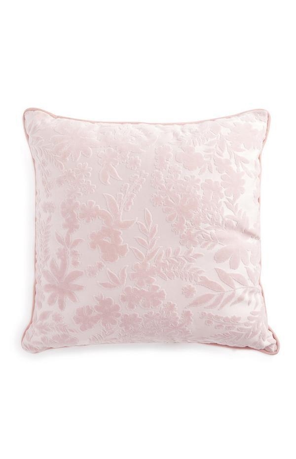 Cuscino rosa a fiori in velluto rasato