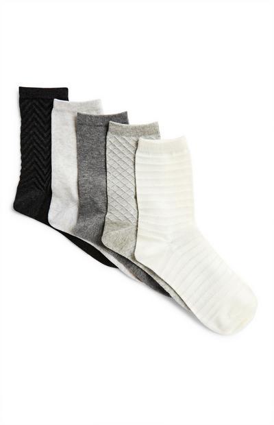 Sive nogavice z vzorcem, 5 parov