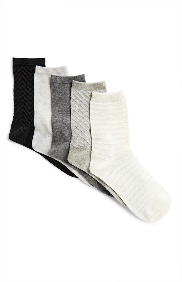 5-Pack Gray Print Crew Socks
