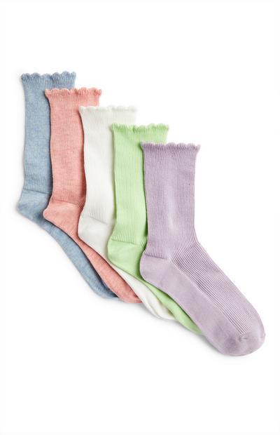 Večbarvne nogavice z valovitim robom, 5 parov