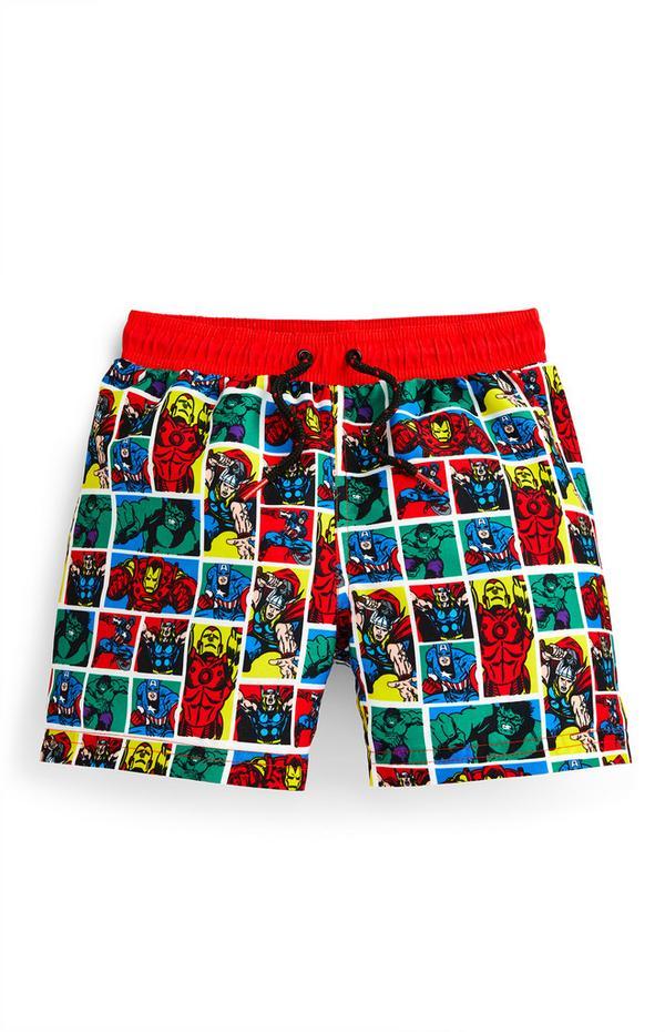 Younger Boy Marvel Comic Print Swim Shorts