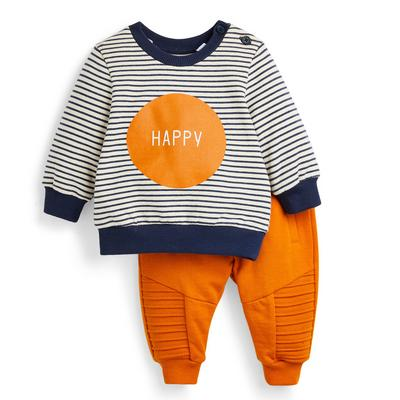 Baby Boy Mustard Stripe Crew Neck Sweater And Joggers Set