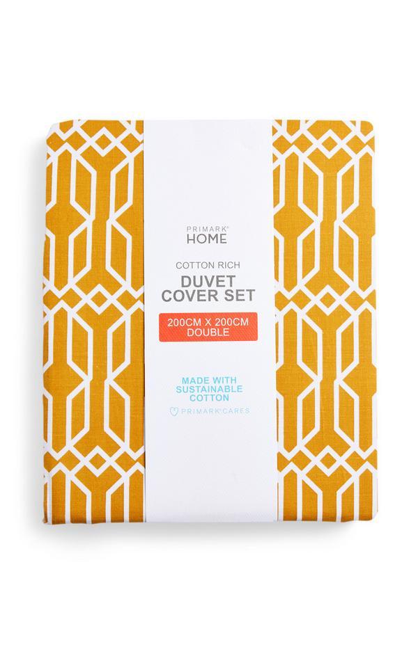 Yellow Retro Geometric Print Double Duvet Cover Set
