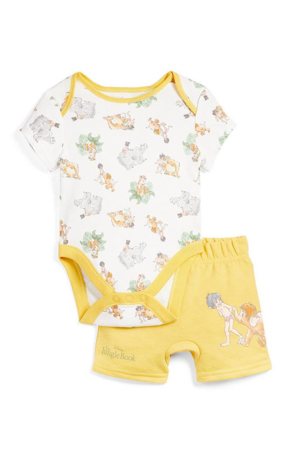 Newborn Baby Yellow Jungle Book Print Bodysuit And Shorts Set