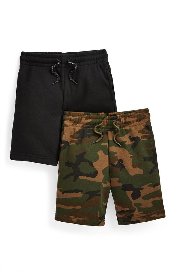 Pack de 2 pantalones cortos de punto negro y de camuflaje para niño pequeño