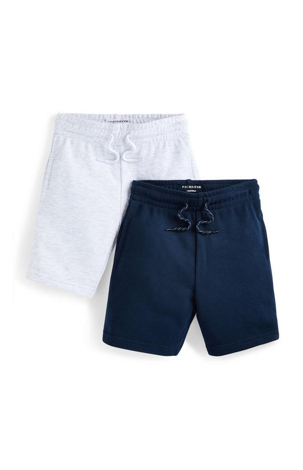 Younger Boy Navy And White Jersey Shorts 2 Pack