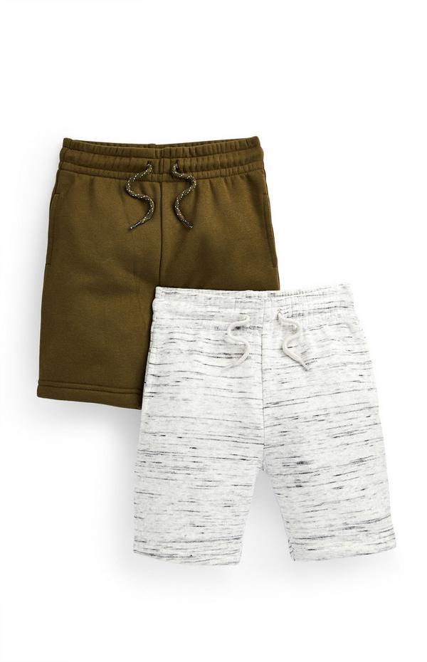 Kaki en grijze jersey shorts voor jongens, set van 2