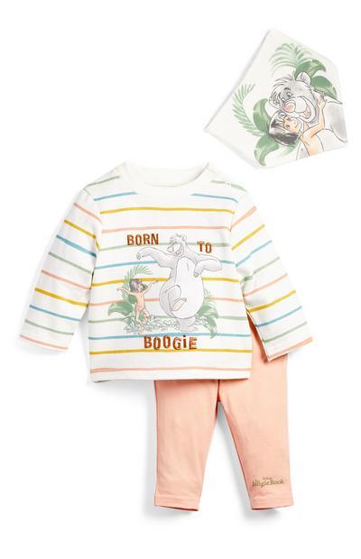 Newborn Baby Jungle Book Stripe Print Sweatshirt, Leggings And Bib Set