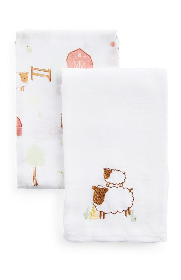 2-Pack White Simple Days Burp Cloths
