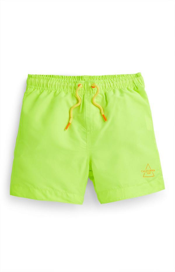 Bañador verde flúor para niño pequeño