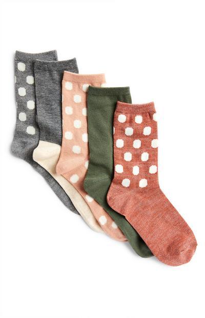 Nogavice umirjenih barv s pikčastim vzorcem, 5 parov