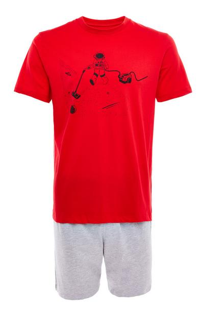 Red Jersey Space Vacuum Short Pyjamas Set