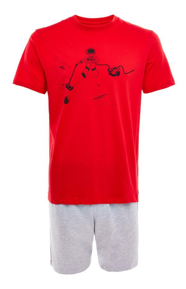 Pyjama rouge en jersey à motif aspirateur dans l'espace avec short