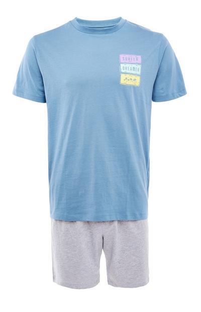 Pijama corto azul de punto con estampado «Surfer»