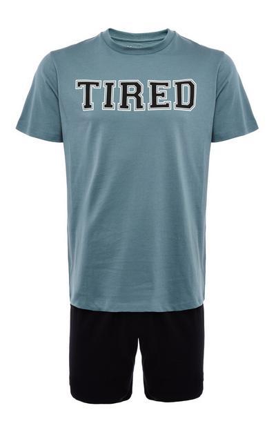 Pyjama bleu en jersey à imprimé Tired avec short