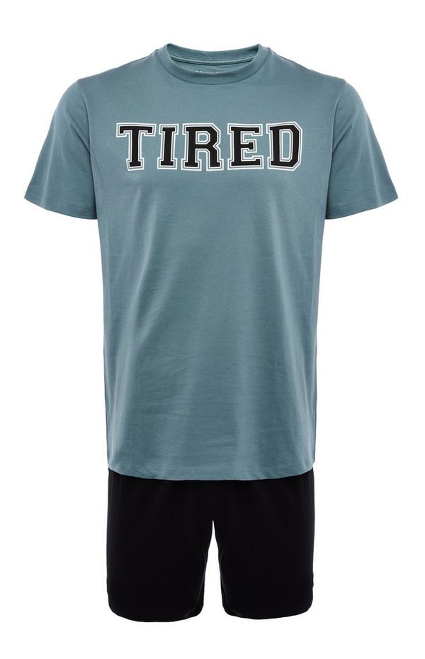 Korte blauwe jersey pyjamaset met Tired-print