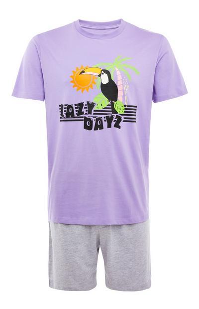 Pijama corto de punto morado y gris con estampado «Lazy Days»