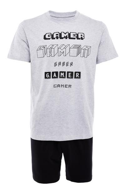 Grey Jersey Gamer Print Short Pyjamas Set