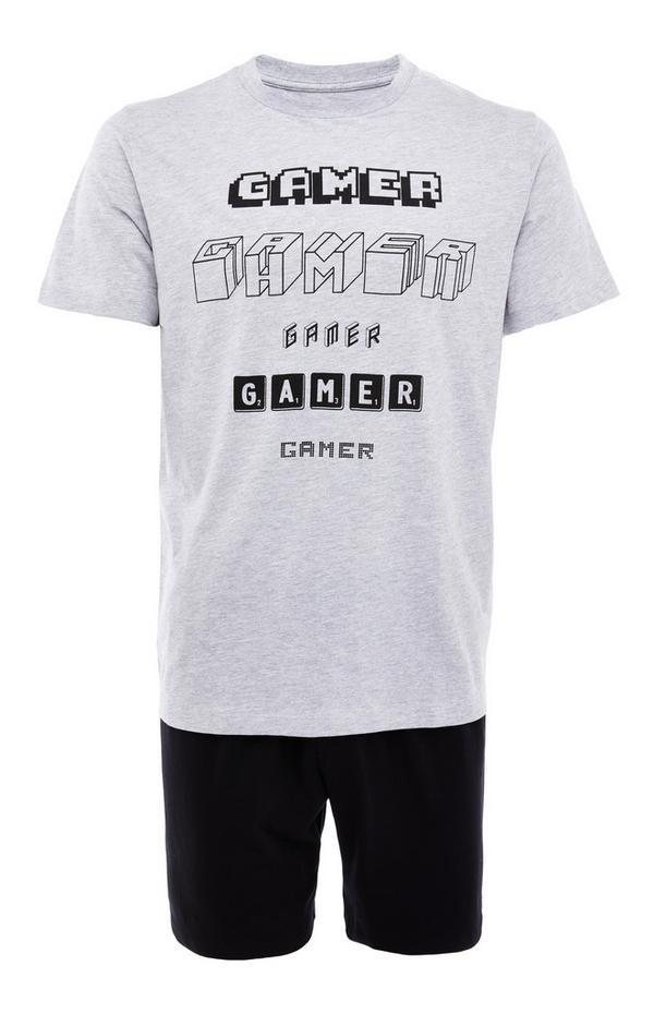Grijze jersey pyjamaset met gamerprint