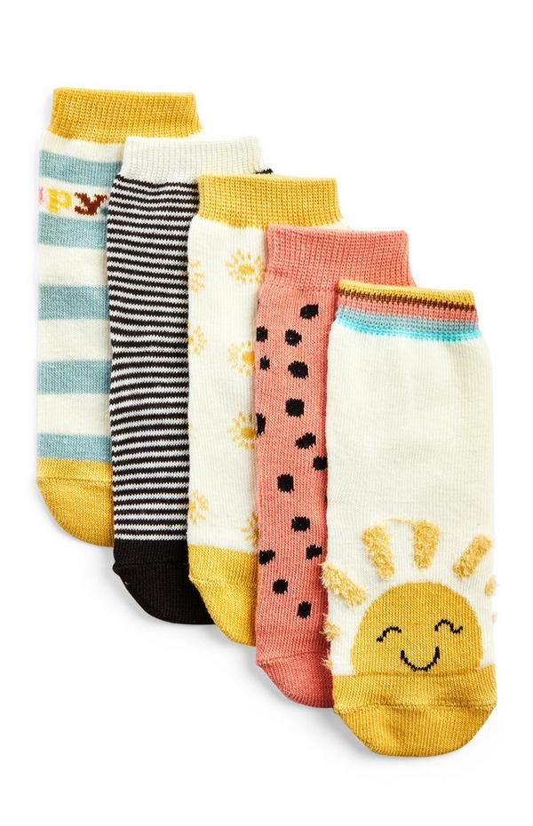 Dekliške nogavice s sončnim motivom za dojenčke, 5 parov