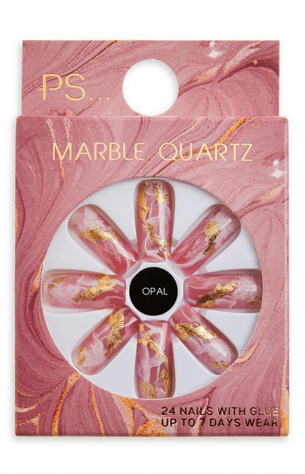 Unhas postiças quadradas compridas brilho Marble Quartz Ps Opal