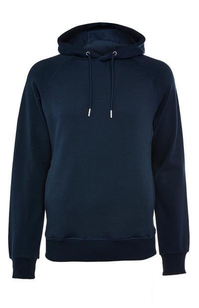 Sudadera premium azul marino de algodón con capucha y sin cierre
