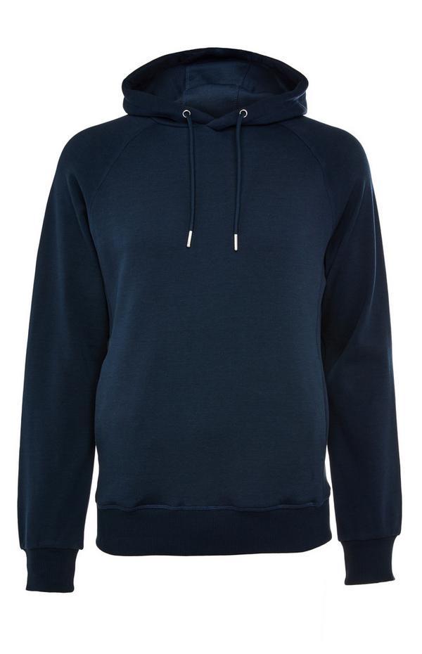 Premium donkerblauwe katoenen hoodie