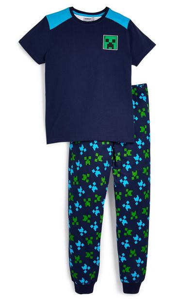 Older Boy Navy Minecraft Pyjama Set