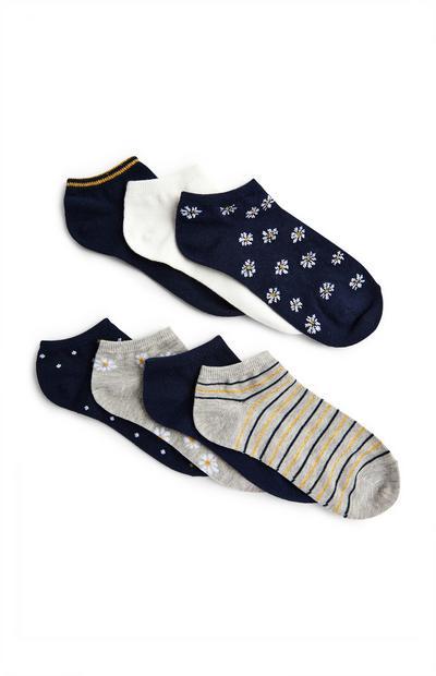 Mešane športne nogavice z vzorcem, 7 parov