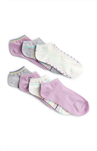 Lilac Mixed Trainer Socks 7 Pack