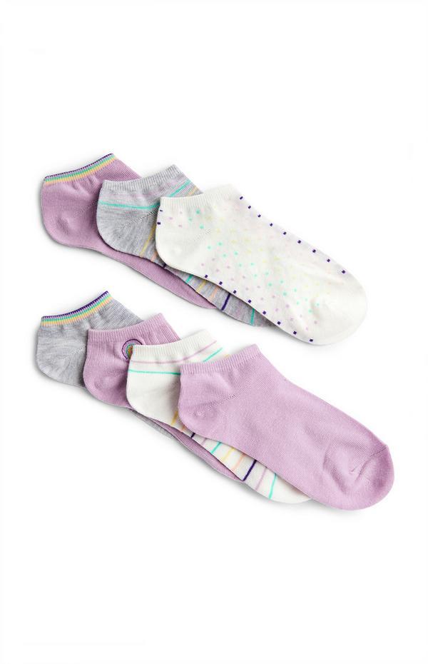 Pack de 7 pares de calcetines deportivos surtidos lila