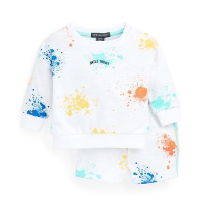 Felpa e shorts bianchi con schizzi di vernice da bimbo