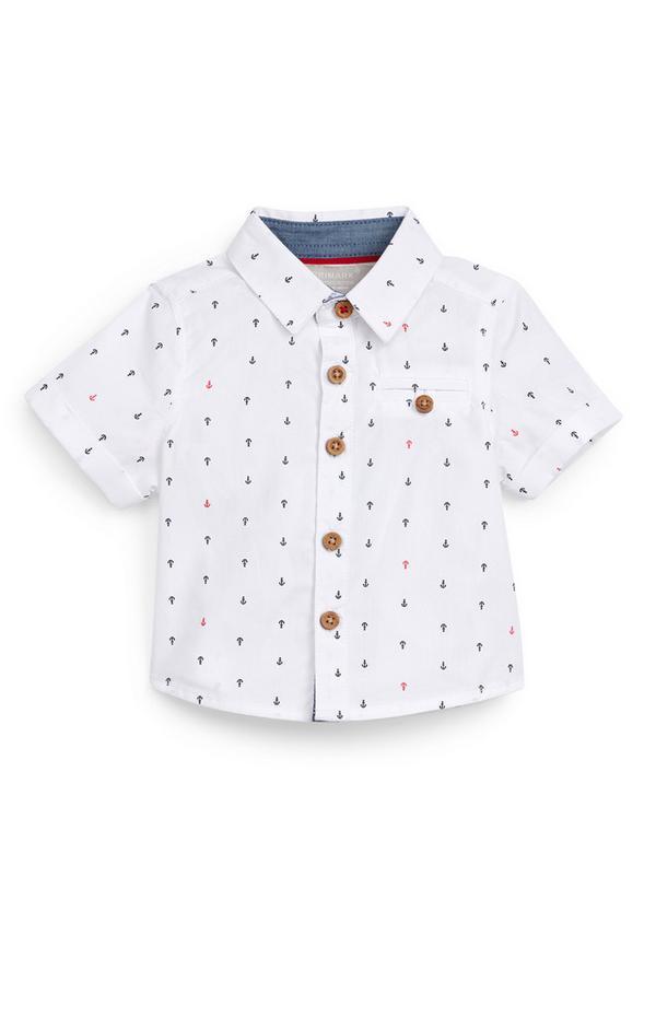 Baby Boy White Anchor Print Poplin Shirt