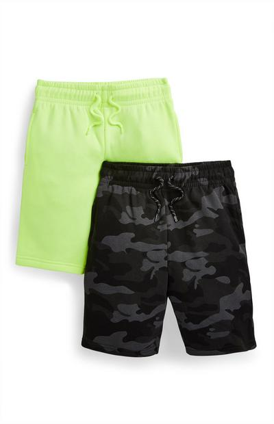 Jersey-Shorts in Grün/mit Tarnmuster (Teeny Boys), 2er-Pack