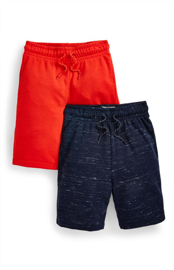Rode en donkergrijze jersey short voor jongens, set van 2