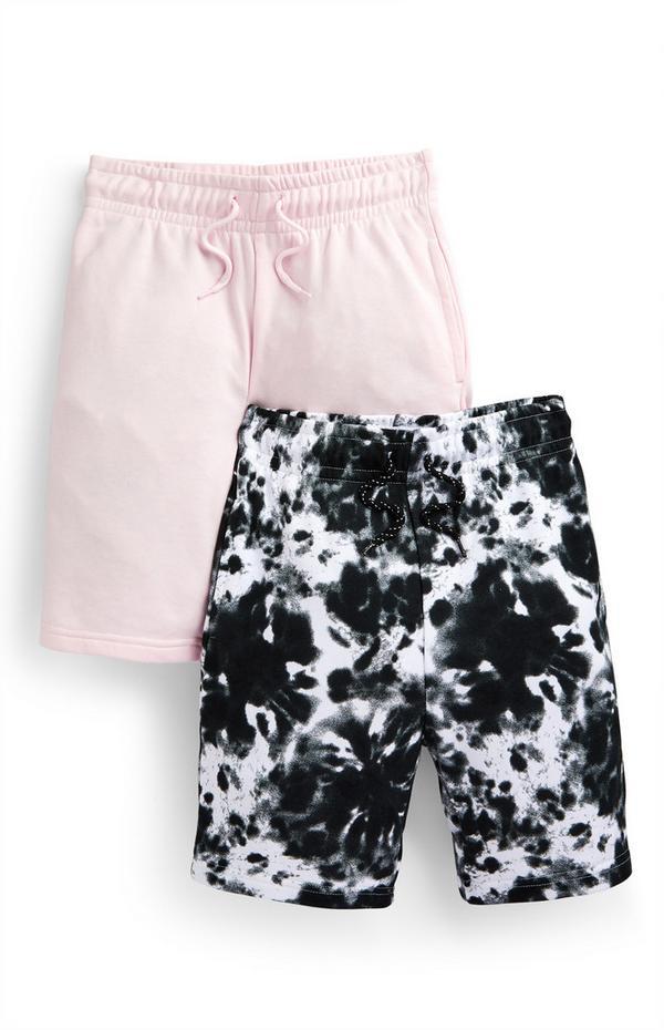 Roze en zwart-witte jersey shorts voor jongens, set van 2