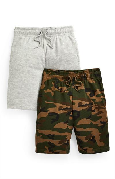Jersey-Shorts in Grau/mit Tarnmuster (Teeny Boys), 2er-Pack