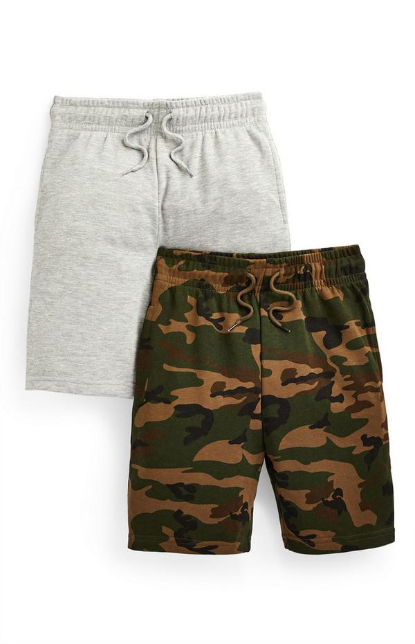Jersey shorts voor jongens, grijs en met camouflageprint, set van 2