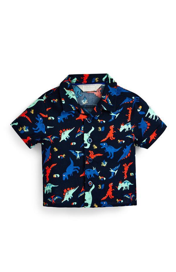 Camicia nera con stampa dinosauri da bimbo