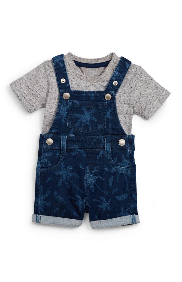 Baby Boy Blue Denim Dungarees 2 Piece Set