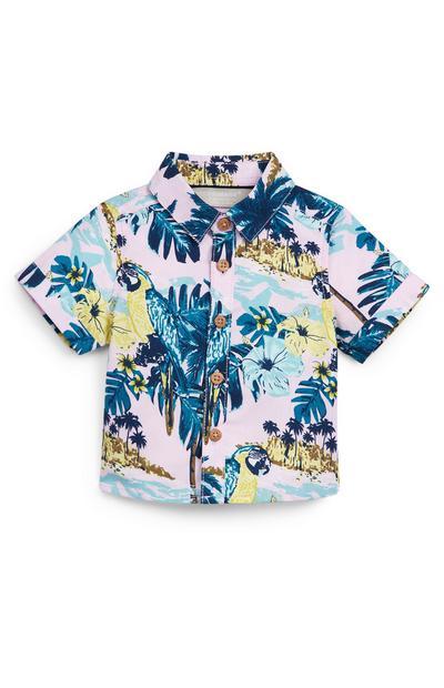 Camisa en tonos pastel con estampado tropical para bebé niño