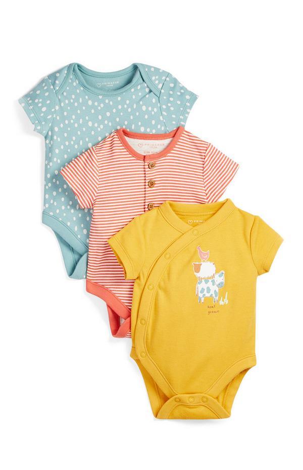 3-Pack Newborn Baby Farm Animal Print Organic Cotton Bodysuits