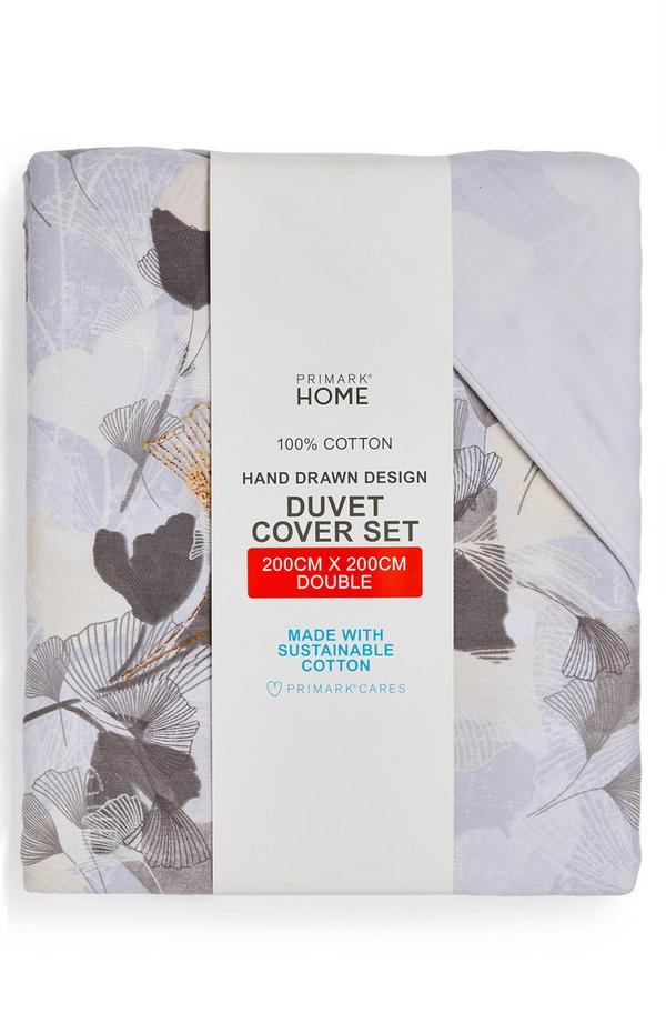 Leaf Imprint Double Duvet Cover Set