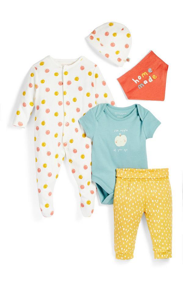 Newborn Baby Organic Starter Outfit 5 Piece Set